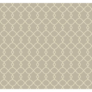 Williamsburg Grey and Cream Chippendale Fret Wallpaper