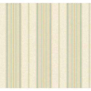 Williamsburg Aqua and Tan Amelia Stripe Wallpaper