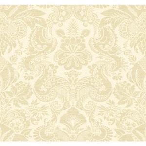 Williamsburg Cream and Metallic Beige Dinwiddie Wallpaper