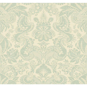 Williamsburg Cream and Metallic Aqua Dinwiddie Wallpaper