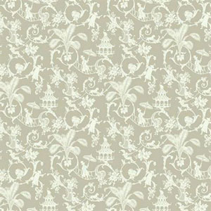 Waverly Small Prints Palm Palace Grey Beige and Cream Wallpaper