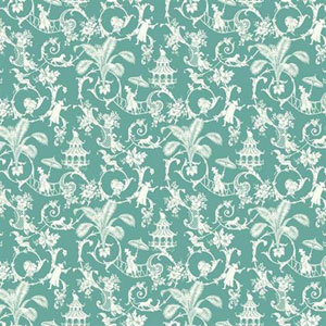 Waverly Small Prints Palm Palace Robins Egg Blue and White Wallpaper