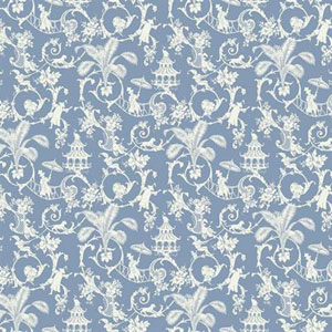 Waverly Small Prints Palm Palace Wedgwood Blue and White Wallpaper