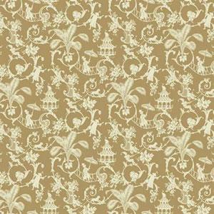 Waverly Small Prints Palm Palace Café Au Lait Tan and Cream Wallpaper