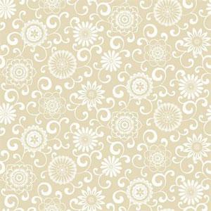 Waverly Small Prints Pom Pom Play Ecru and White Wallpaper