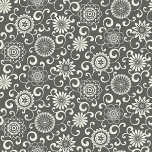 Waverly Small Prints Pom Pom Play Dark Stone Grey and White Wallpaper