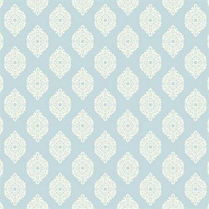 Waverly Small Prints Garden Gate Pale Sky Blue and White Wallpaper