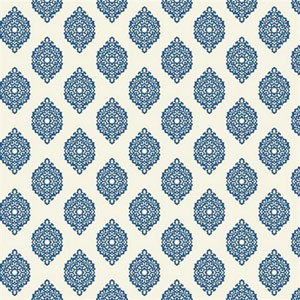 Waverly Small Prints Garden Gate Marine Blue and White Wallpaper
