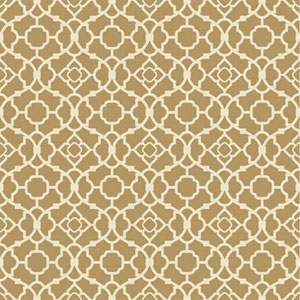 Waverly Small Prints Lovely Lattice Gold Satin and Rich Cream Wallpaper