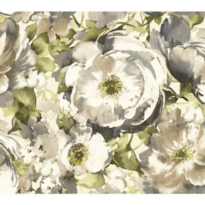 Carey Lind Watercolors White and Grey Watercolor Poppy Wallpaper
