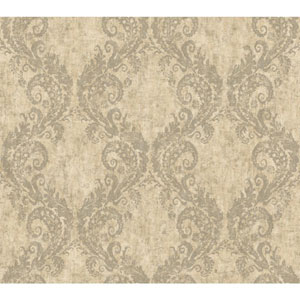 Carey Lind Watercolors Beige and Silver Batik Ogee Wallpaper