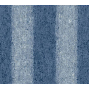 Carey Lind Watercolors Blue and White Batik Ogee Stripe Wallpaper