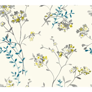Carey Lind Watercolors White and Yellow Soft Blossoms Wallpaper