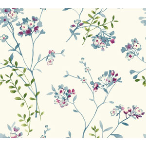 Carey Lind Watercolors White and Blue Soft Blossoms Wallpaper