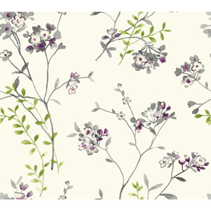 Carey Lind Watercolors White and Grey Soft Blossoms Wallpaper
