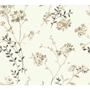 Carey Lind Watercolors White and Beige Soft Blossoms Wallpaper