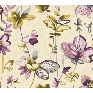 Carey Lind Watercolors Cecru and Purple Whimsical Garden Wallpaper