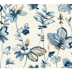Carey Lind Watercolors White and Blue Whimsical Garden Wallpaper
