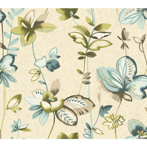 Carey Lind Watercolors Creamy Pearl and Teal Whimsical Garden Wallpaper