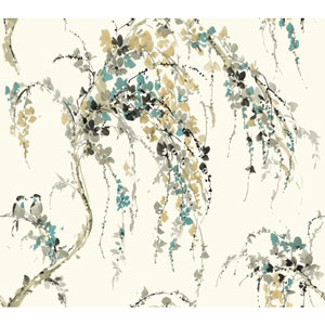 Carey Lind Watercolors White and Tan Lovebirds Wallpaper