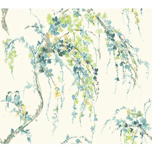 Carey Lind Watercolors White and Teal Lovebirds Wallpaper