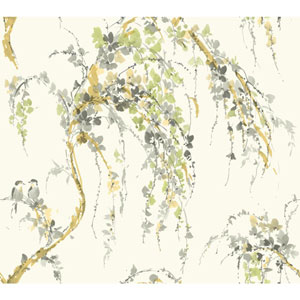 Carey Lind Watercolors White and Grey Lovebirds Wallpaper