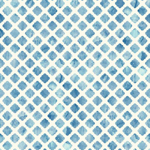 Carey Lind Watercolors White and Blue Artisan Tile Wallpaper