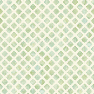 Carey Lind Watercolors White and Green Artisan Tile Wallpaper