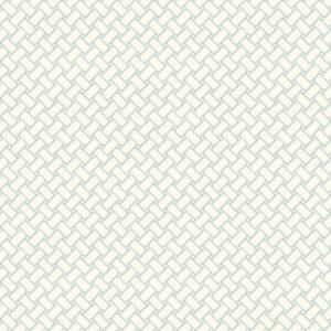 Carey Lind Watercolors White and Aquamarine Basketweave Wallpaper