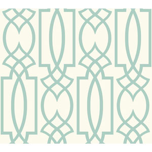 Carey Lind Watercolors White and Aquamarine Large Lattice Wallpaper