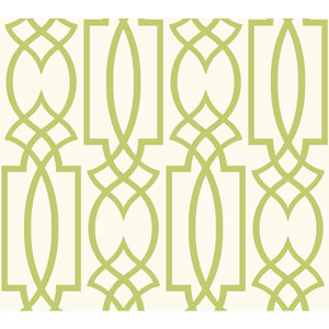 Carey Lind Watercolors White and Green Large Lattice Wallpaper