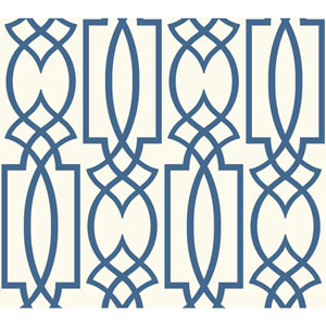 Carey Lind Watercolors White and Blue Large Lattice Wallpaper