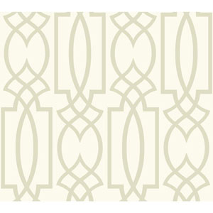 Carey Lind Watercolors White and Silver Large Lattice Wallpaper