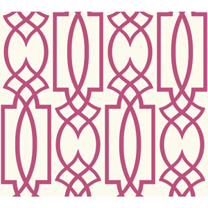 Carey Lind Watercolors White and Pink Large Lattice Wallpaper