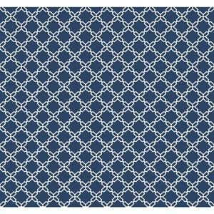 Carey Lind Watercolors Deep Blue and White Geometric Trellis Wallpaper