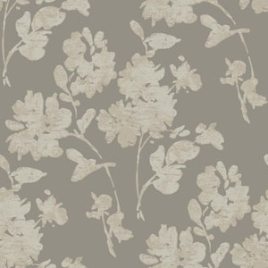 Glam Pewter and Beige Floral Spot Wallpaper