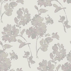 Glam Off-White and Metallic Pewter Floral Spot Wallpaper