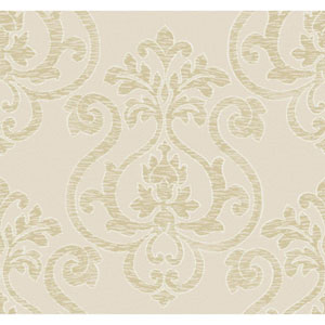 Glam Beige and Gold Large Medallion Wallpaper