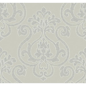 Glam Beige and Silver Grey Large Medallion Wallpaper