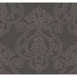 Glam Dark Grey and Metallic Silver Large Medallion Wallpaper