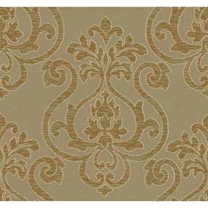 Glam Golden Brown and Metallic Gold Large Medallion Wallpaper