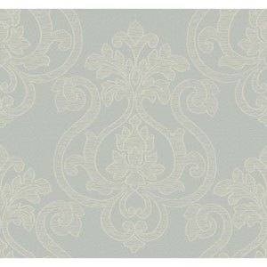Glam Blue Grey and Cream Large Medallion Wallpaper
