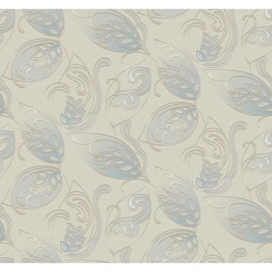 Glam Light Taupe and Blue Leaves Jacobean Wallpaper