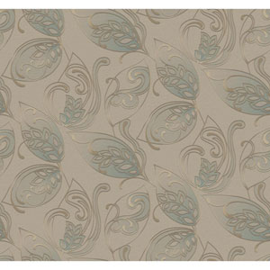 Glam Beige and Metallic Gold Leaves Jacobean Wallpaper