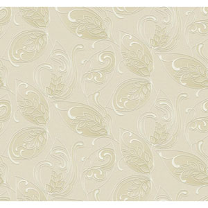 Glam Beige and Tan Leaves Jacobean Wallpaper