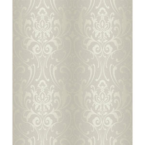 Glam Silver Beige and Cream Damask Wallpaper