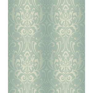 Glam Aquamarine and Cream Damask Wallpaper