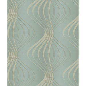 Glam Aquamarine and Gold Glitter Wind Sculpture Wallpaper