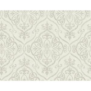 Glam Beige and Silver Glitter Interlocking Geo Wallpaper