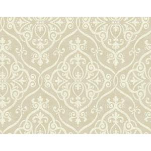 Glam Beige and Gold Glitter Interlocking Geo Wallpaper